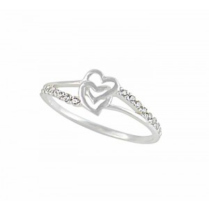 Interlocking Silver Heart Ring
