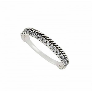 Silver Rope and Cubic Zirconia Sterling Silver Ring