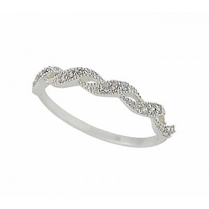 Double Twisted Wave Silver Ring