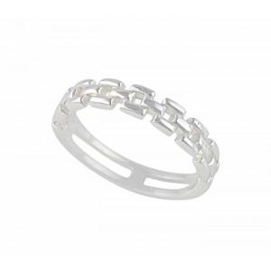 Interlocking Bar Design Sterling Silver Ring