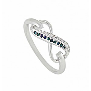 Silver Infinity Ring and Black Cubic Zirconia