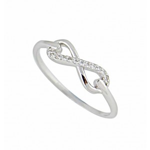 Silver Infinity Ring and Clear CZ