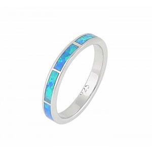 Blue Opal Silver Ring 3mm