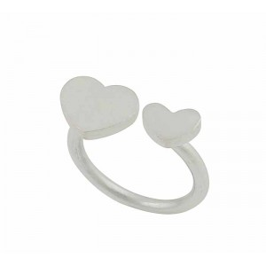 Twin Heart Matt Finish Silver Ring