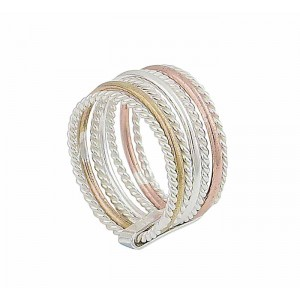 Plain and Rope Style 7 Row Sterling Silver Ring