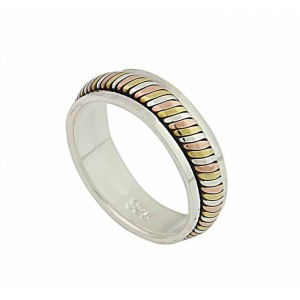 Three Tone Silver Band Ring