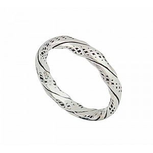 Textured Effect and Twisted Silver Ring