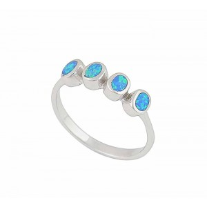Oval Blue Opal Silver Ring