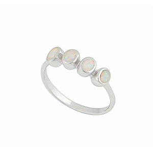Oval White Opal Ring