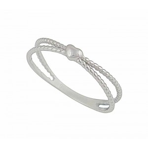 Small Heart and Textured Silver Band Ring