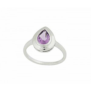 Faceted Teardrop Amethyst Silver Ring