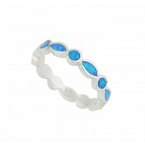 Round and Oval Blue Opal Ring