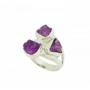 Uncut Amethyst Stone Silver Ring