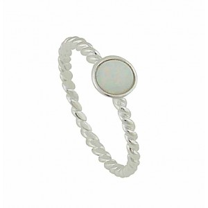 White Opal Stone Twisted Band Silver Ring