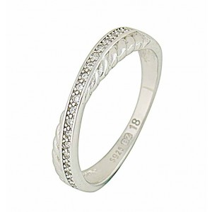 Cubic Zirconia and Plaited Band Silver Ring