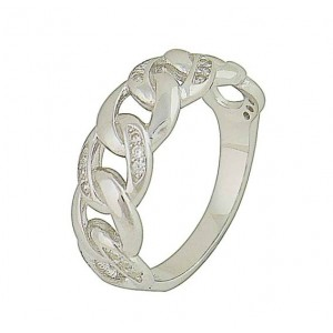 Linkage Cubic Zircoina Silver Ring