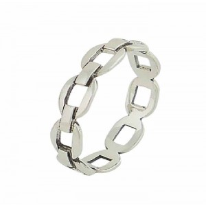 Chain Link Polished Silver Ring
