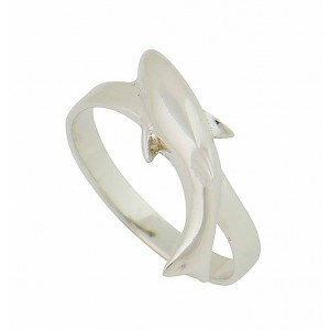 Dolphin Swim Silver Ring