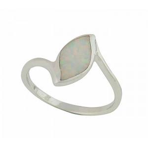 Ellipse White Opal Ring