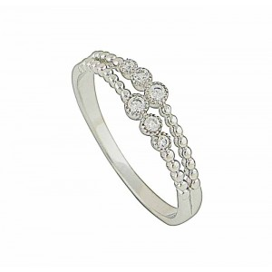 Beaded Cubic Zirconia Silver Ring