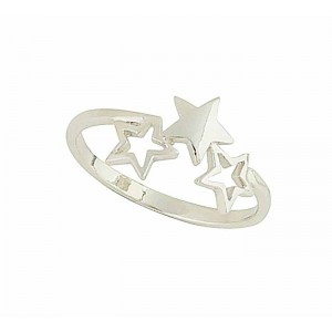 Star Trio Silver Ring