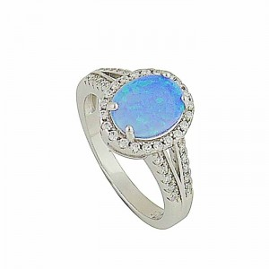 Blue Opal Royalty Silver Ring