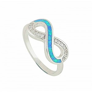 Silver Infinity Blue Opal Ring