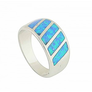 Blue Opal Bold Slant Ring
