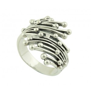 Ornate Linear Bead Silver Ring