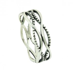 Textured Crossover Silver Ring