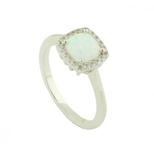White Opal Regality Silver Ring