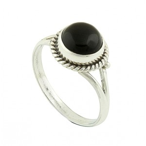 Black onyx Coin Silver Ring