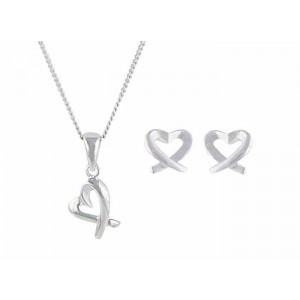 Crossover Heart Silver Necklace and Matching Earrings Set