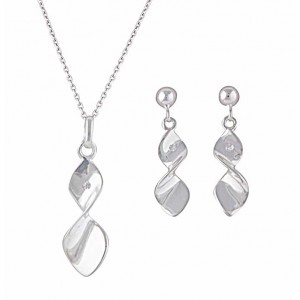 Sterling Silver Twisted Infinity Drop Earrings and Necklace Set
