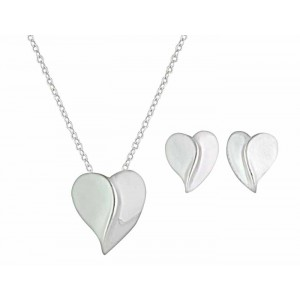 Simple Sterling Silver Curved Heart Stud Earrings and Necklace Set