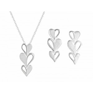 Triple Heart Drop Earrings and Necklace Jewellery Set