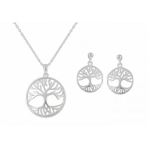 Tree of Life Disc Pendant and Drop Earrings Set