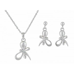 Silver Butterfly Pendant and Stud Earrings Set