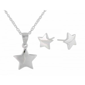 Simple Silver Star Pendant Necklace and Earrings Set | The Opal Jewellery