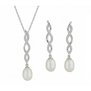 Cubic Zirconia and Plain Twist Freshwater Pearl Silver Necklace and Earrings Set