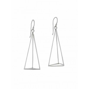 Silver Pyramid Dangle Earrings