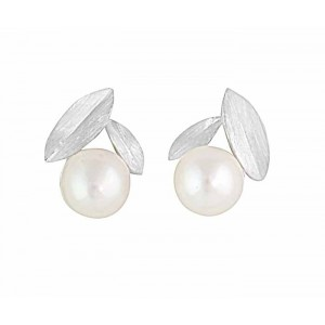 Leaf and Pearl Silver Stud Earrings
