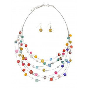 Multi Layer Bead Necklace and Earrings Set
