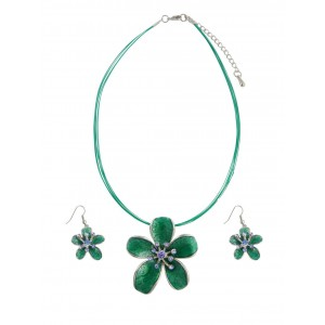 Green Enamel Flower Pendant Necklace and Earrings Set