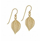 Gold Plated Curved Leaf Earrings