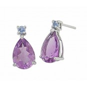 Swiss Blue Topaz and Teardrop Amethyst Earrings