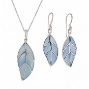Opulent Sterling Silver Mother of Pearl Leaf Necklace and Drop Earrings