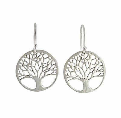 Spiritual Boho Hippie Yoga Gift idea Buddhist Bodhi Tree Family Tree Tree of Life Silver Dangle Charm Earrings Tree Earrings