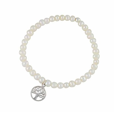 Tree of Life Freshwater Pearl Stretch Bracelet