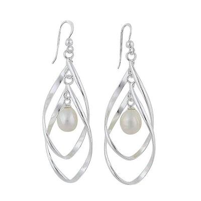 Dual Teardrop and Freshwater Pearl Silver Earrings